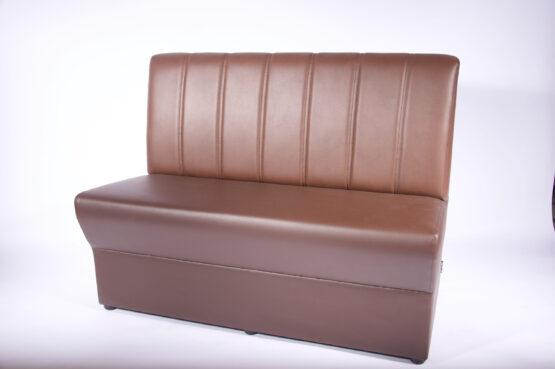 Madrid Soffa med sits klädd i brunt konstläder och ribbad rygg i ljusbrunt konstläder 120cm modul