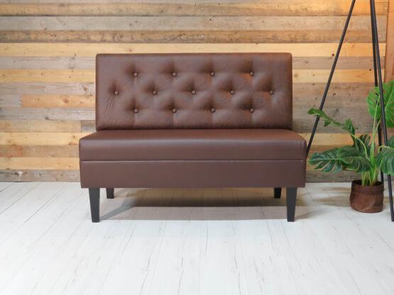 Bilbao Soffa med sits klädd i brunt konstläder och knappad rygg 120cm / modul