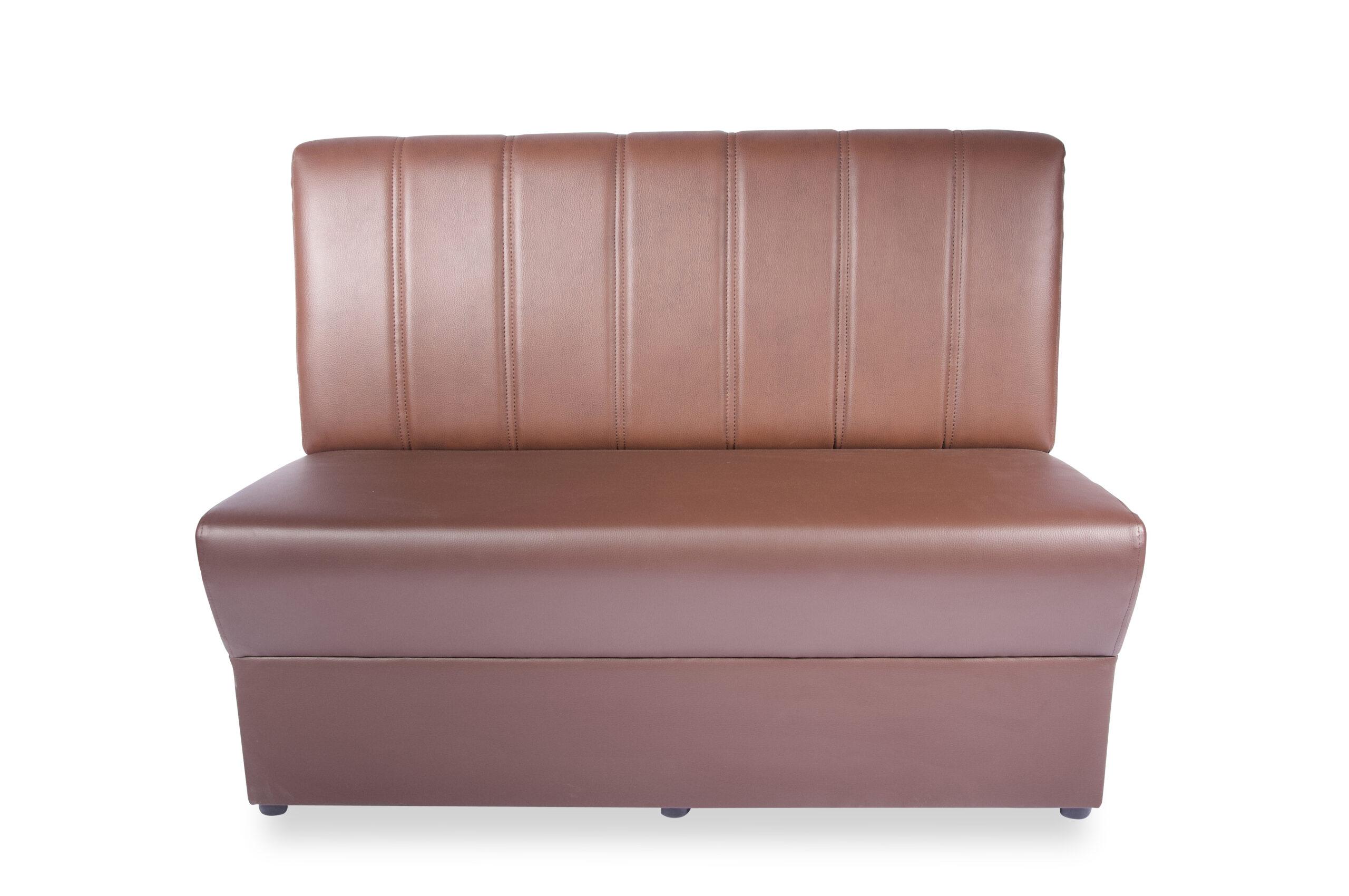 Madrid soffa sits klädd i brunt konstläder och ribbad rygg i ljusbrunt konstläder 160cm modul